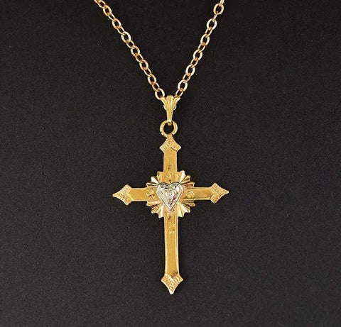 Charming 14K Gold and Diamond Cross Necklace