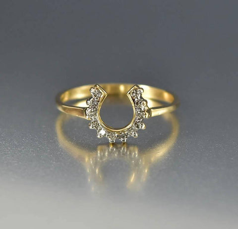 Vintage 14K Gold Lucky Diamond Horseshoe Ring