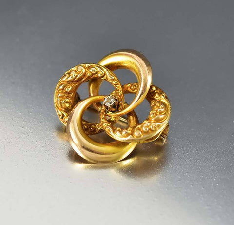 Victorian Gold Diamond Lovers Knot Brooch Pin