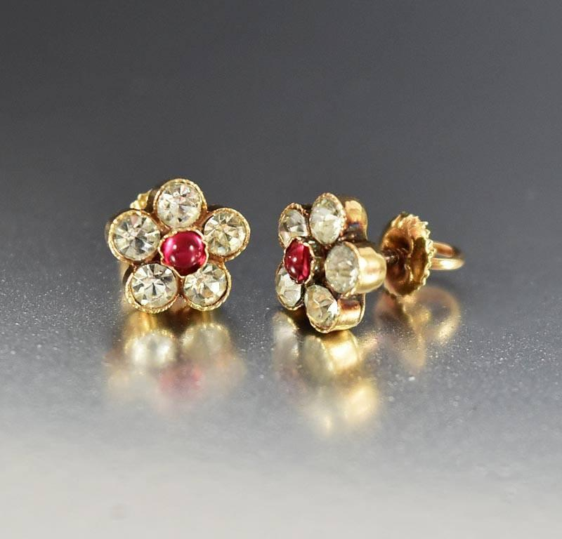 Edwardian 14K Gold Diamond Ruby Paste Stud Earrings - Boylerpf
