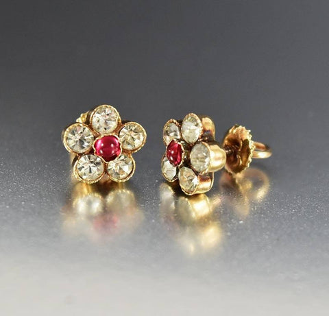 Edwardian 14K Gold Diamond Ruby Paste Stud Earrings