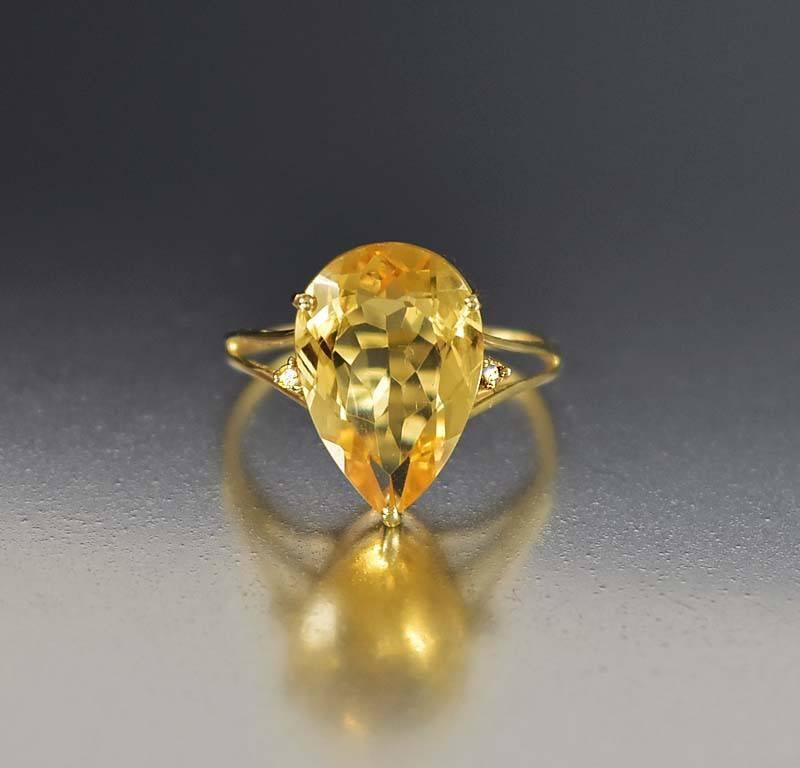 Vintage Estate Gold Pear Shape Citrine Diamond Ring - Boylerpf - 1