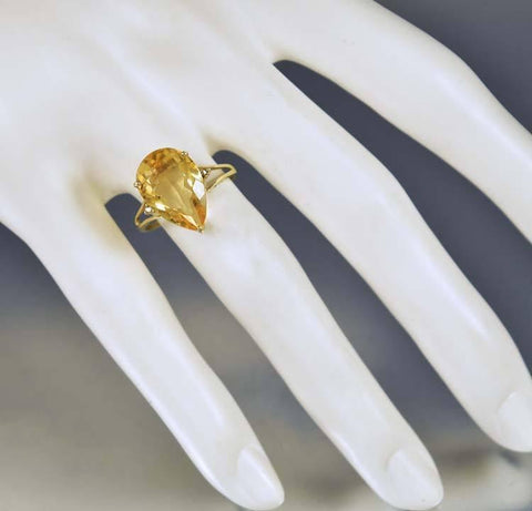 Vintage Estate Gold Pear Shape Citrine Diamond Ring
