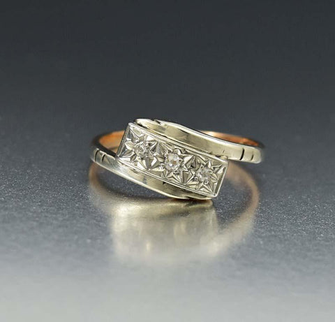 Platinum and Gold Diamond Art Deco Engagement Ring