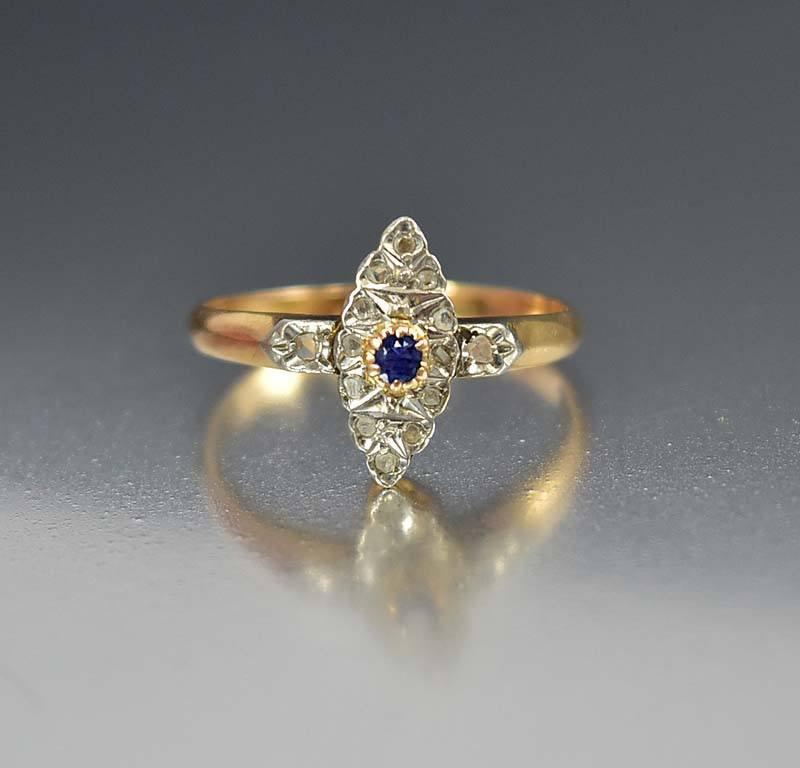 French 14K Gold Sapphire Mine Cut Diamond Ring - Boylerpf