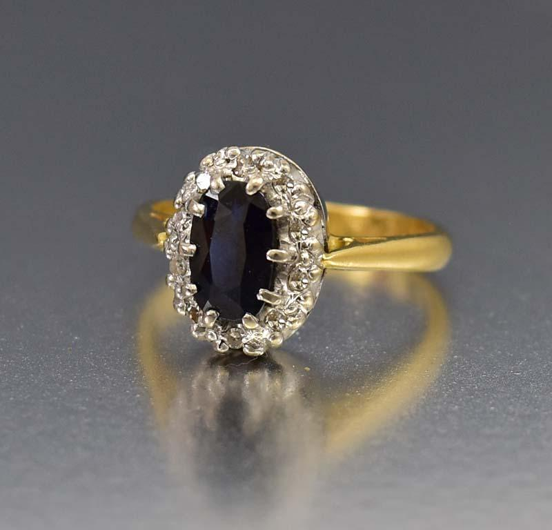 Fine 18K Gold Sapphire & Diamond Engagement Ring - Boylerpf