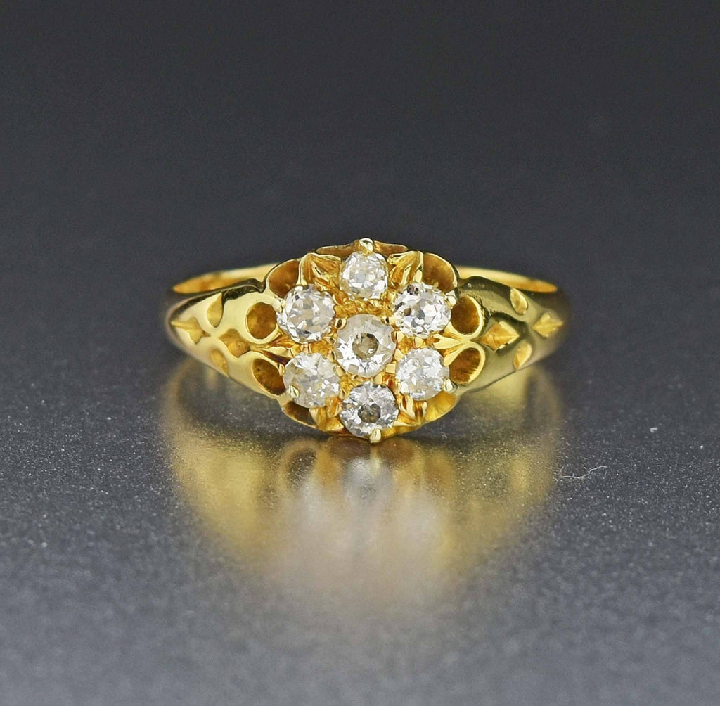 18K Gold Antique Diamond Cluster Ring - Boylerpf