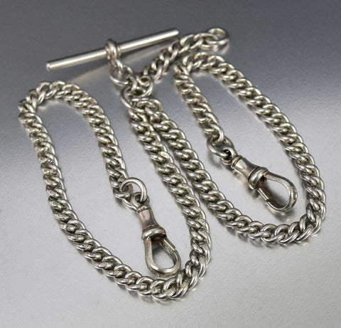 Antique English Silver Watch Chain Necklace 34.5 gms