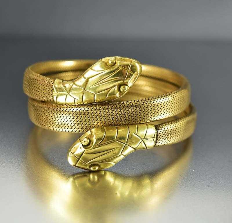 Wide Double Headed Gold Snake Wrap Bracelet - Boylerpf