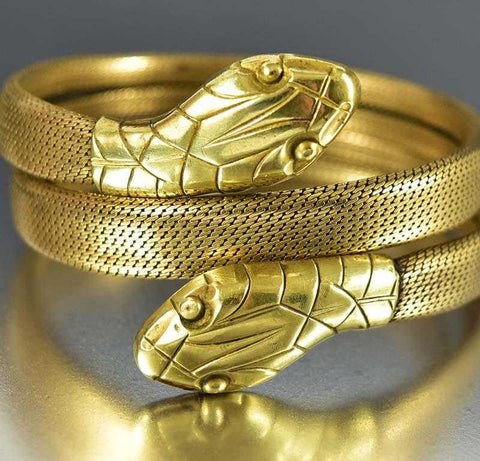 Wide Double Headed Gold Snake Wrap Bracelet ON HOLD