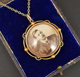 Edwardian 15K Gold Double Glass Locket Necklace - Boylerpf