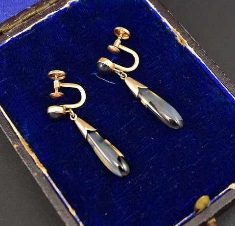 Stunning Antique Edwardian Gold Agate Drop Earrings