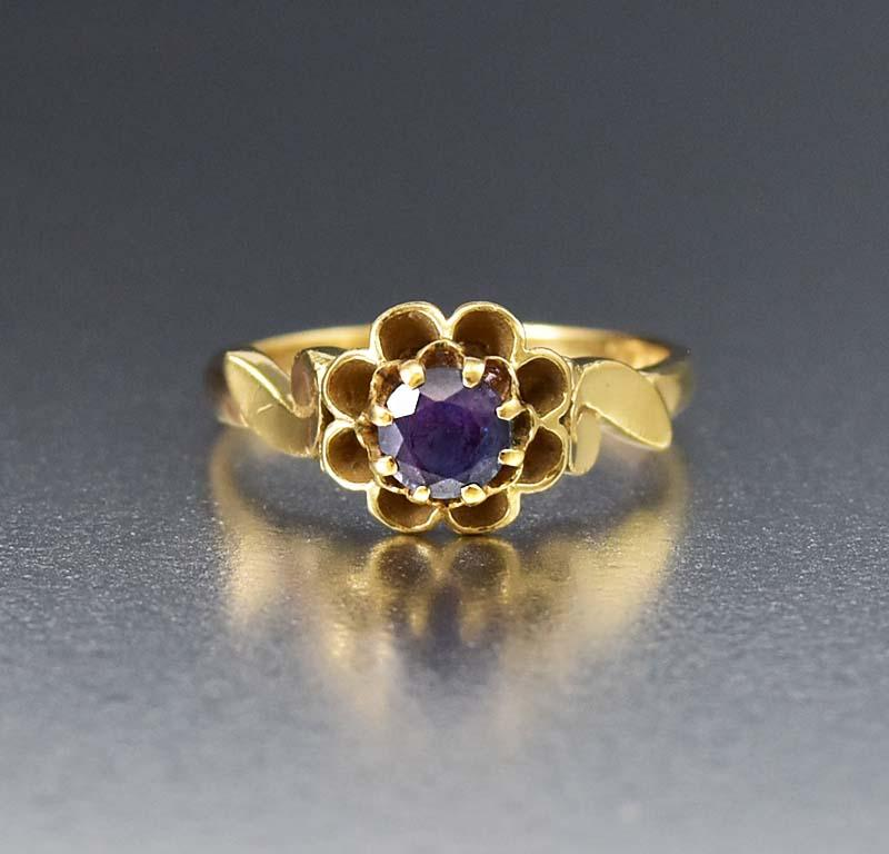 Antique 14K Gold Alexandrite Color Change Sapphire Ring - Boylerpf