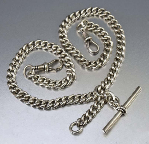 Edwardian English Silver Double Albert Watch Chain 56 gms