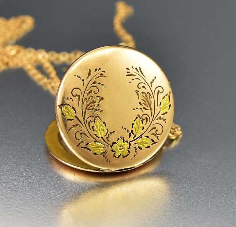Gold Forget Me Not Flower Engraved Antique Locket - Boylerpf