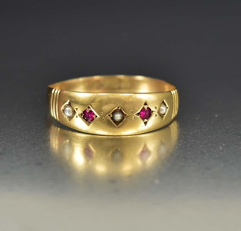 Antique English Gold Pearl and Ruby Band Ring - Boylerpf