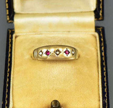 Antique English Gold Pearl and Ruby Band Ring