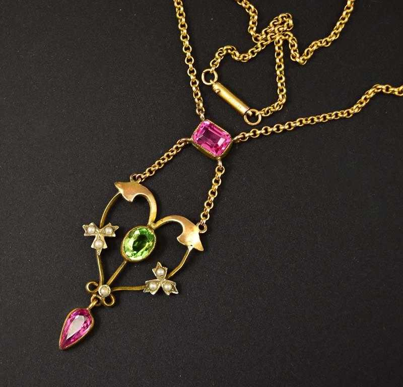 Peridot Pearl and Pink Sapphire Antique Necklace C 1900 - Boylerpf
