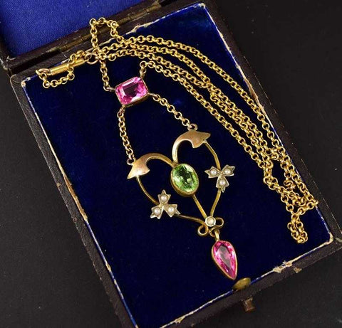 Peridot Pearl and Pink Sapphire Antique Necklace C 1900