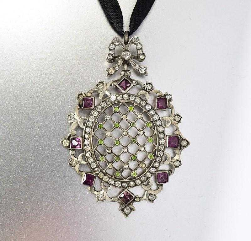 Antique Silver Paste Edwardian Suffragette Pendant - Boylerpf - 1