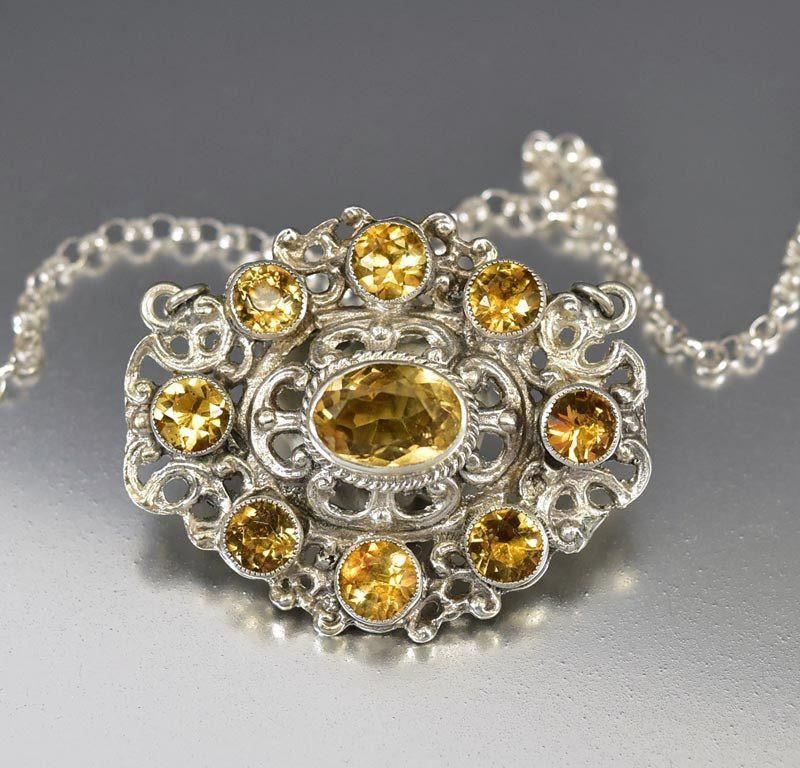 Antique Austro Hungarian Silver Citrine Pendant Necklace - Boylerpf