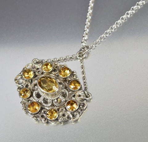 Antique Austro Hungarian Silver Citrine Pendant Necklace