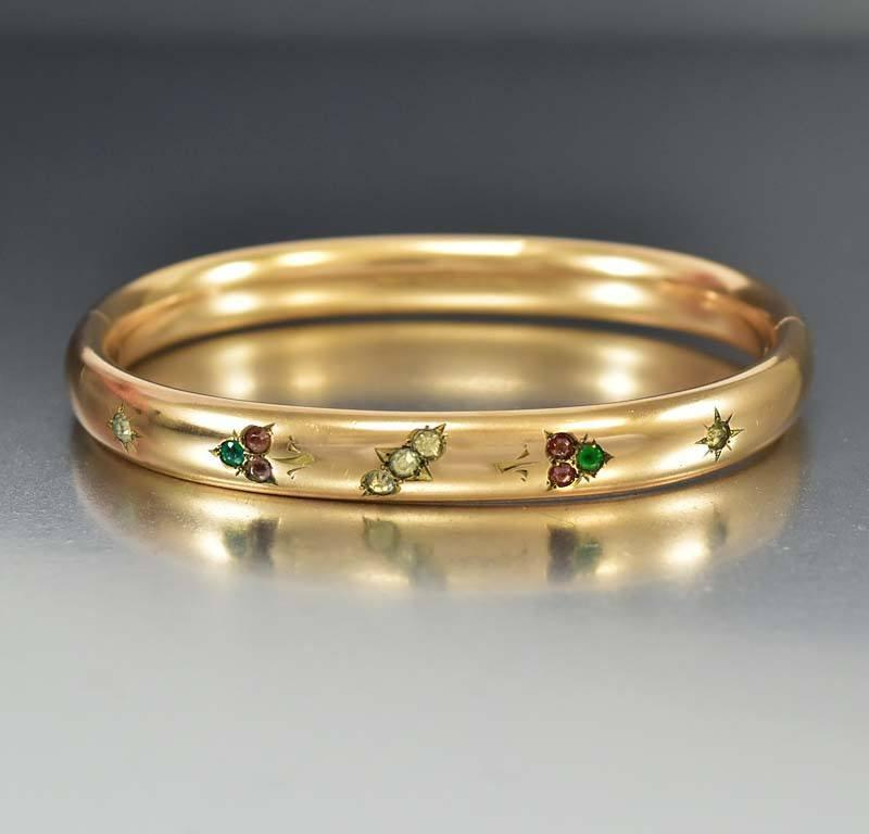 Edwardian Suffragette Paste Gold Fill Bangle Bracelet - Boylerpf