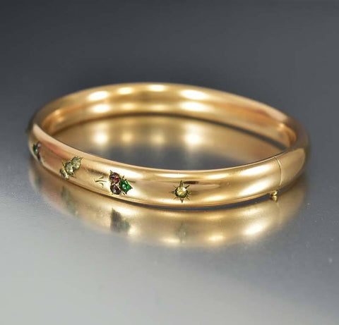 Edwardian Suffragette Paste Gold Fill Bangle Bracelet