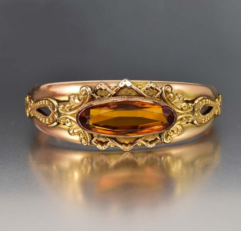 Fine Edwardian 12K Gold Fill Topaz Glass Antique Bracelet - Boylerpf