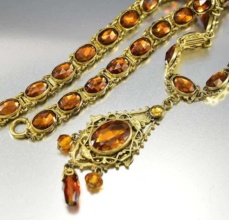 Vintage Art Deco Czech Vauxhall Glass Topaz Necklace - Boylerpf
