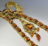 Vintage Art Deco Czech Vauxhall Glass Topaz Necklace - Boylerpf - 4
