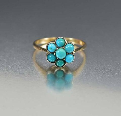 Antique Victorian French Silver Turquoise Ring