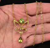 Edwardian Pearl and Peridot Lavalier Pendant Necklace - Boylerpf