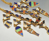 Vintage Enamel Charms Egyptian Art Deco Necklace - Boylerpf