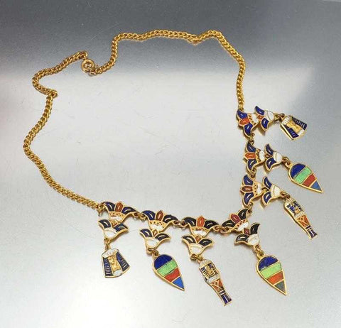 Vintage Enamel Charms Egyptian Art Deco Necklace
