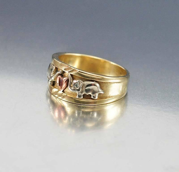 Vintage 14K Gold Heart Elephant Band Ring – Boylerpf