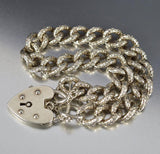 Heart Padlock Engraved Silver Curb Watch Chain Bracelet - Boylerpf