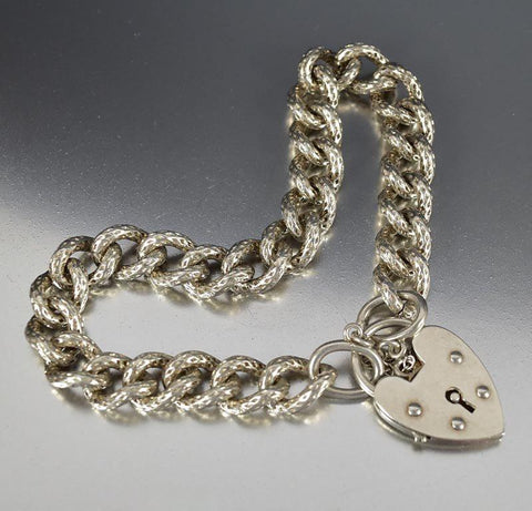 Heart Padlock Engraved Silver Curb Watch Chain Bracelet
