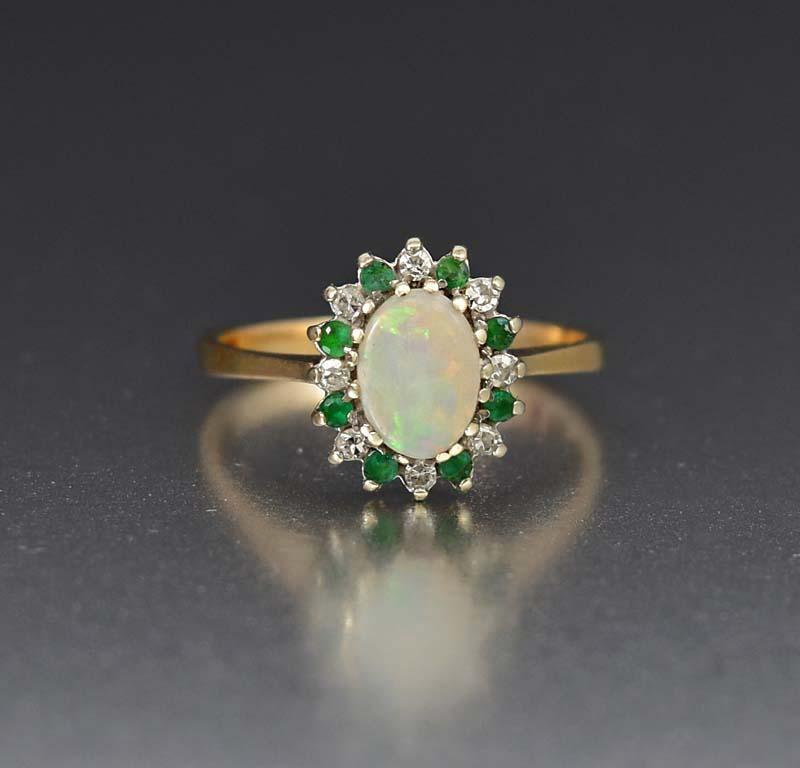Superior Emerald Diamond and Opal Cluster Ring - Boylerpf