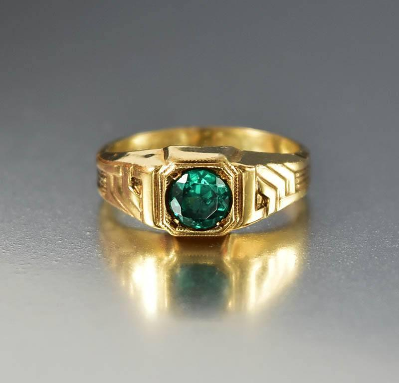 Art Deco 12K Gold Fill Emerald Paste Uncas Ring - Boylerpf - 1