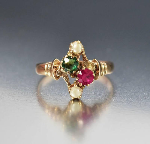 Antique Victorian Ruby Emerald Engagement Ring