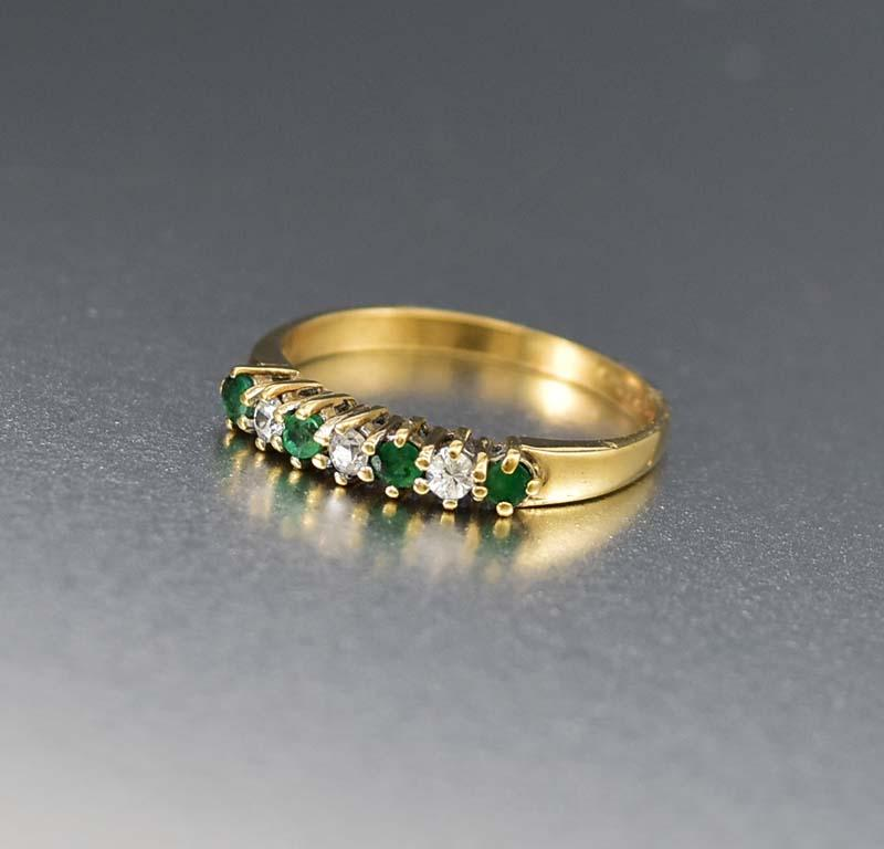 English Estate White Topaz and Emerald Eternity Ring - Boylerpf