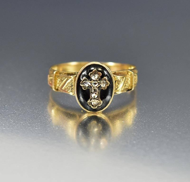 Georgian Antique 18K Gold Diamond Cross Ring Mourning - Boylerpf