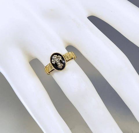 Georgian Antique 18K Gold Diamond Cross Ring Mourning