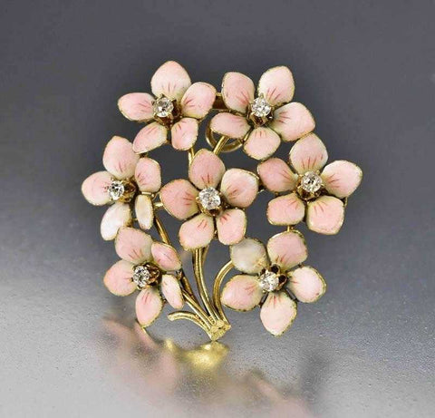 Gold Enamel Diamond Flower Brooch Pendant, Circa 1900