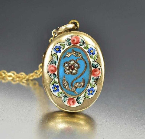 Enamel Flower Garnet Pearl Antique Gold Locket