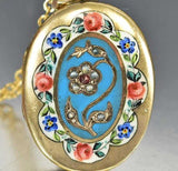 Enamel Flower Garnet Pearl Antique Gold Locket - Boylerpf