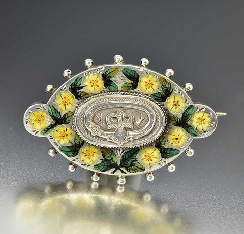English Silver Buckle Enamel Pansy Flower Antique Brooch