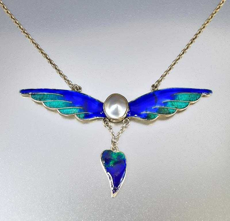 Silver Pearl and Enamel Wings Art Nouveau Necklace - Boylerpf