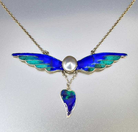 Silver Pearl and Enamel Wings Art Nouveau Necklace